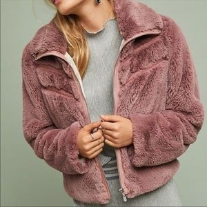 Anthropologie Faux Fur Jacket Pink Small
